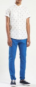 bright skinny pants white shirt