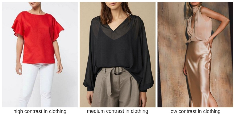 examples of contrast levels in clothing