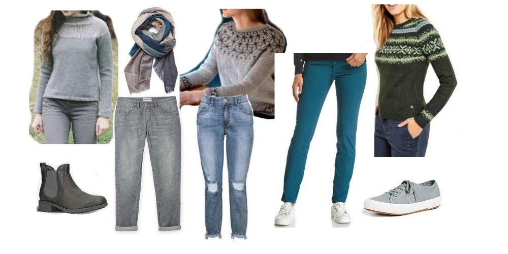 how to wear patterned jumpers with pants for inverted triangle shape