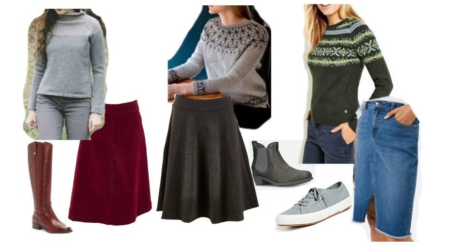 how to wear patterned jumpers with skirts for inverted triangle shape
