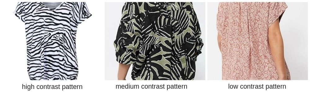 examples of contrast levels in clothing patterns
