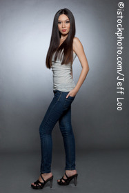 Balanced torso, skinny jeans