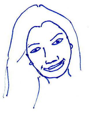 Cristina asked me to remove her photo. Here's an outline of her face shape